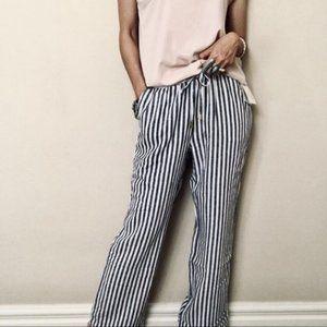 Ellen Tracy Stripe Linen Pull On Pants Size Large